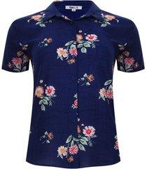 camisa floral color azul, talla s