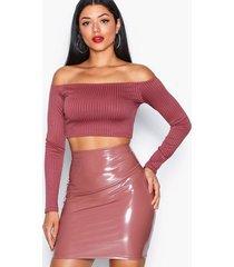 nly one patent short skirt minikjolar mörk rosa
