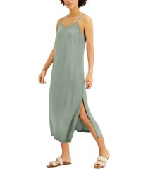 style & co petite side-slit slip dress, created for macy's