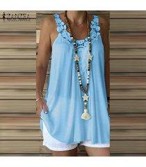 zanzea verano de las mujeres sin mangas de encaje de ganchillo con tiras chaleco remata la camisa de la blusa plus -azul