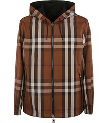 burberry checked zipped hoodie