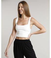 top faixa de sarja feminino cropped com recortes alças médias off white