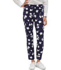 pantalón azul-blanco-beige gap
