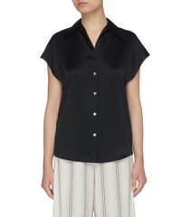 cape sleeve short sleeve silk shirt