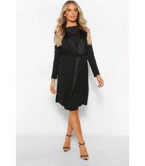 mouwloze duster jas met ceintuur en midi jurk set, zwart