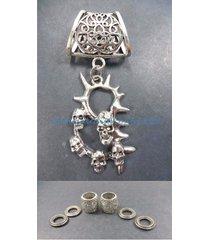 us seller-death skulls pendant slider scarf ring scarf slide jewelry