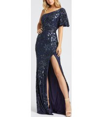 mac duggal one-shoulder butterfly-sleeve sequinned gown