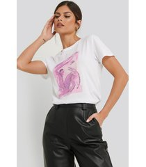 na-kd trend abstract art printed basic tee - multicolor