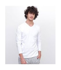 camiseta básica manga longa com gola v | blue steel | branco | gg