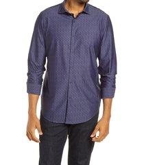 men's bugatchi ooohcotton tech herringbone knit button-up shirt, size large - blue