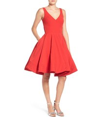 women's mac duggal fit & flare cocktail dress, size 8 - red