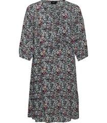 dress floral print plus a line knälång klänning svart zizzi