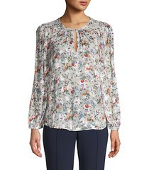 ruby floral silk-blend top