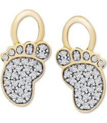 diamond diamond foot earring charms (1/10 ct. t.w.) in 14k gold