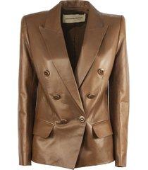 alexandre vauthier blazer in brown lambskin