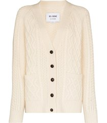 re/done 50s cable-knit wool cardigan - white