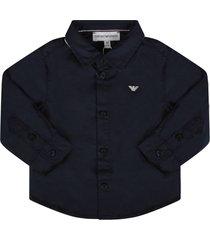 armani collezioni blue babyboy shirt with iconic eagle