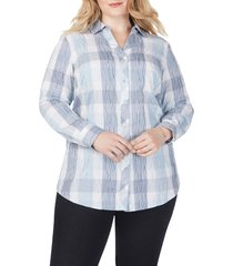 plus size women's foxcroft crinkled buffalo check tunic shirt, size 14w - blue