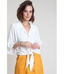 camisa feminina com nó manga ampla off white