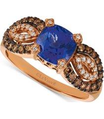 le vian blueberry tanzanite (1-3/8 ct. t.w.) & diamond (3/8 ct. t.w.) ring in 14k rose gold