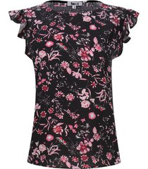 blusa m/c arandelas flores color negro, talla l