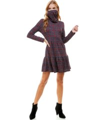 be bop juniors' plaid tiered dress & face mask scarf