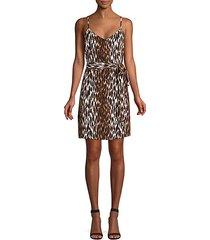 leopard-print belted silk camisole dress