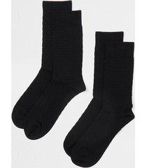 river island mens black honeycomb premium socks 2 pack