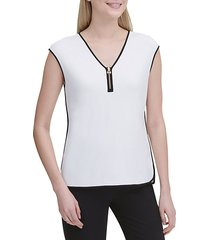 zipped v-neck blouse