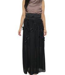 falda con apliques aranzazu fa negro