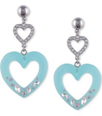guess double heart drop earrings
