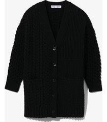proenza schouler white label patchwork knit cardigan black m