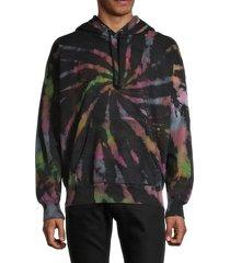 diesel men's s-alby-s1 tie-dye hoodie - black multi - size s