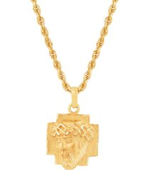 "christ head 22"" pendant necklace in 10k yellow gold"
