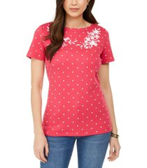 karen scott printed embroidered boat-neck cotton top, created for macy's