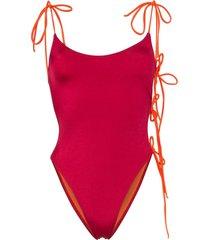 ack tintarella flirt tie side swimsuit - red