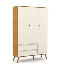 roupeiro 3 portas gold freijó/off white/eco wood matic móveis