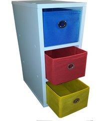 mesa de cabeceira gaveteiro organibox com 3 gavetas 18x55x30cm vermelho