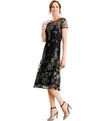 sl fashions metallic-floral midi dress