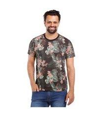 camiseta javali floral preta