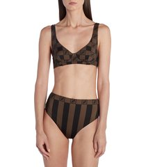 women's fendi check & pequin stripe two-piece swimsuit