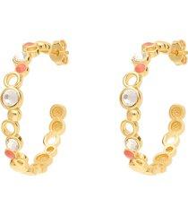orecchini a cerchio in ottone rosato con cristalli e smalto arancione per donna