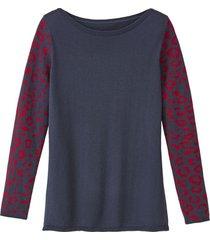 gebreide pullover met merinowol en jacquardmouwen, nachtblauw-motief 34