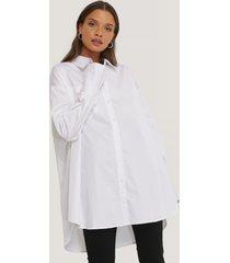na-kd reborn recycled oversize skjorta med ficka - white
