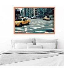 quadro love decor com moldura new york city rose metalizado  médio - tricae
