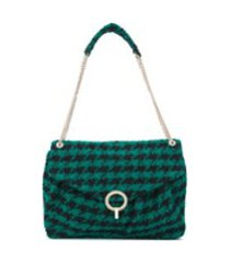 sandro paris bolsa tiracolo com estampa pied-de-poule e alça de corrente - verde