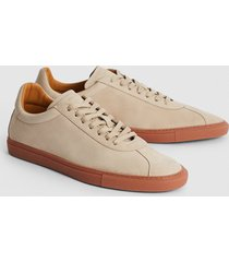 reiss glove - leather contrast sole trainers in ecru, mens, size 13
