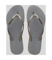chinelo feminino havaianas slim com brilho cinza