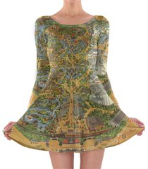 disneyland vintage map longsleeve skater dress