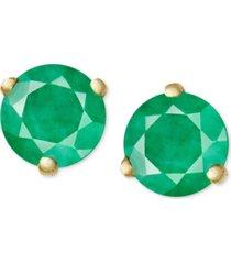 14k gold earrings, emerald stud (3/4 ct. t.w.)